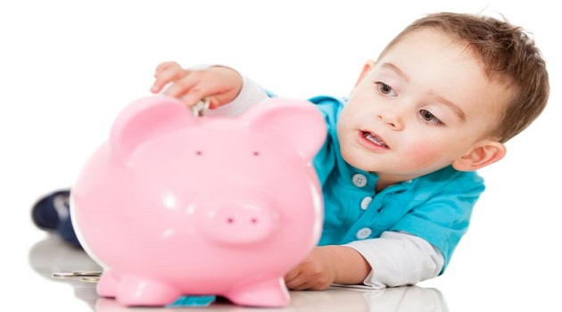 Saving money in a piggybank